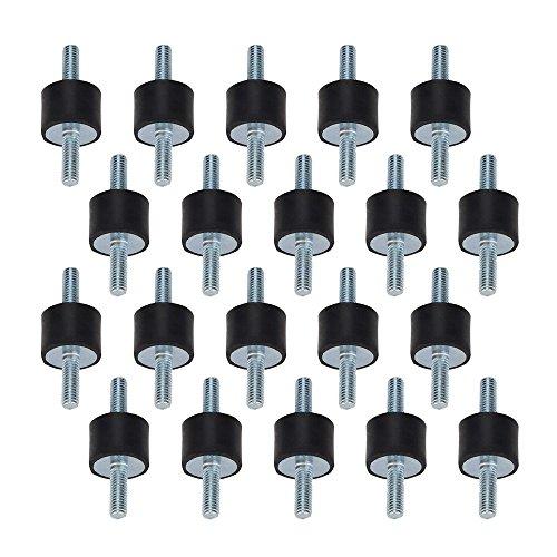 BQLZR 20 x 15 mm M6 en caoutchouc Noir Double Extrémités Vis Silentblock anti-vibrations pour machine de soudure Lot de 20