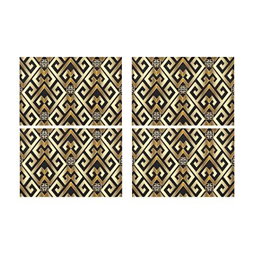 Zemivs Abstract Manders Ornament Rutschfeste schmutzabweisende Wärmeisolierung Waschbar Platzdeckchen Tischset für Baby und Damen Round Dinning Küchentisch 12