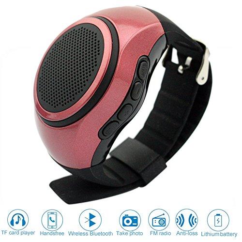Svpro Wireless Bluetooth Lautsprecher Armbanduhr Tragbare Sport Armband MP3-Musik-Player,Freisprechfunktion,Telefon-Anti-Verlorene,Karten-Unterstützung,Selbstanslöser,USB-Unterstützung (rote-B20)