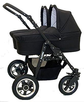 Carro gemelar niños diferentes edades. 1 capazo+2sillas+accesorios. Negro+fucsia. Duet