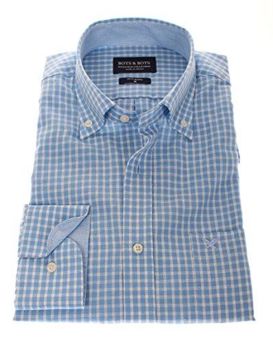 166108 - Bots & Bots Exclusive Collection - 55% Leinen / 45% Baumwolle - Button Down - Normal Fit Hellblau