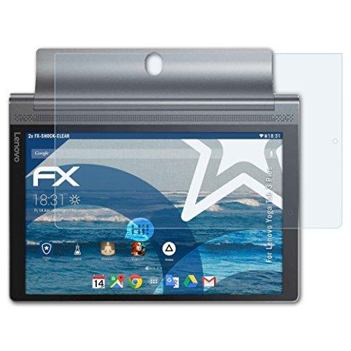 atFolix Panzerfolie für Lenovo Yoga Tab 3 Plus Folie - 2 x FX-Shock-Clear stoßabsorbierende ultraklare Displayschutzfolie