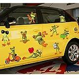 Funny Big Eyes Frosch Cars Wand Aufkleber Papier Home Aufkleber Abnehmbare Wand Vinyl Wohnzimmer Schlafzimmer PVC Kunst Bilder Wandmalereien für Kinder Kinderzimmer Baby Mädchen Jungen + 3D Frosch Auto Aufkleber