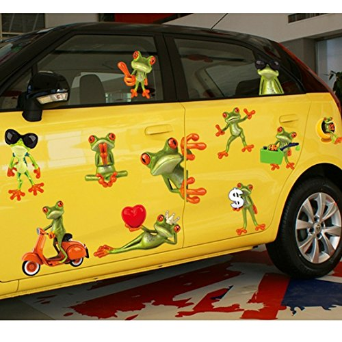 Funny Big Eyes Frosch Cars Wand Aufkleber Papier Home Aufkleber Abnehmbare Wand Vinyl Wohnzimmer Schlafzimmer PVC Kunst Bilder Wandmalereien für Kinder Kinderzimmer Baby Mädchen Jungen + 3D Frosch Auto Aufkleber (Auto-aufkleber Abnehmbare)