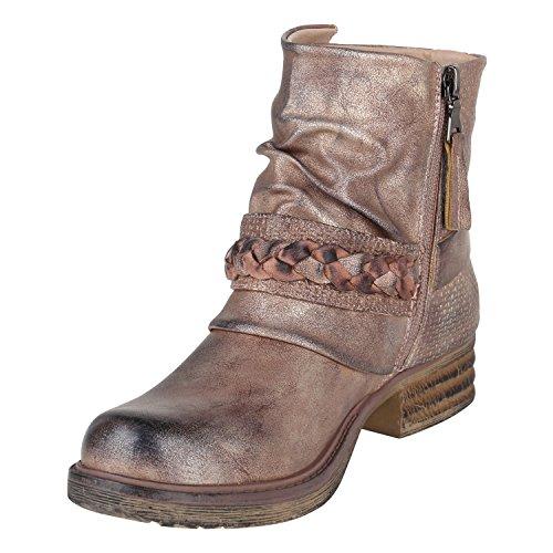Stiefelparadies Damen Stiefeletten Biker Boots Schnallen Nieten Knöchelhohe Stiefel Leder-Optik Flandell Rose Gold Flechte