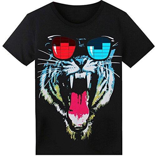 LED T-Shirt für Party Hiphop Cosplay Konzert Geburtstagsgeschenk Beste Halloween Kostüm Sound Aktiviertes Equalizer Shirt DJ (Music Party Of Kostüme Sound)