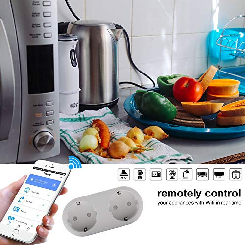 Presa Intelligente, REAFOO Presa WiFi Smart Plug Spina 2-in-1 con App Controllo Remoto Temporizzazione Monitor Energetico, Presa Intelligente Wifi Compatibile con Alexa Echo, Google Home e IFTTT