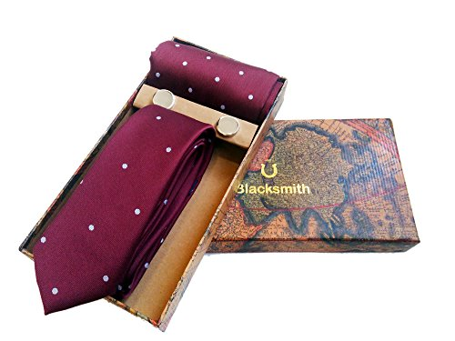 Blacksmith Polka Maroon Tie , Cufflink, Pocket Square Set for Men