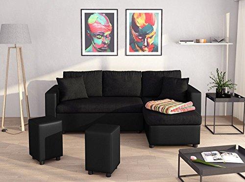 UsineStreet Canapé d'angle Guest Réversible et Convertible avec Coffre et 2 Poufs en Simili et Microfibre Noir