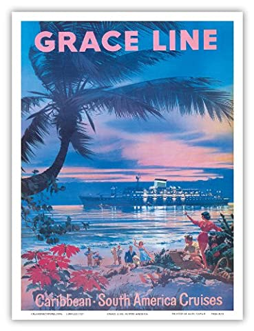 Grace Line - Caribbean, South America Cruises - Vintage Ocean Liner Travel Poster by C.G. Evers c.1958 - Bon Art Print