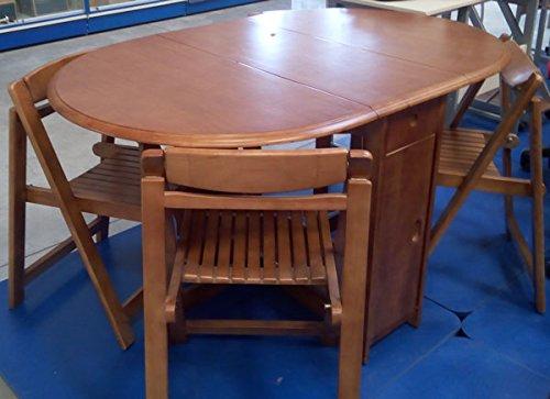 Set Tavolo in legno massello pieghevole - 4 Sedie Colore
