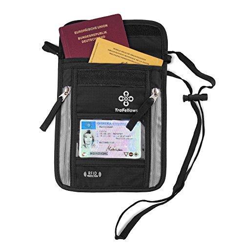 Borsello Porta Documenti Passaporto Italiano Patente Cellulare - Proteggi RFID - Portadocumenti Uomo Donna da Viaggio �?Borsa Tracolla o Collo - Custodia da Esterno Impermeabile x Moto �?Design Nero Nero