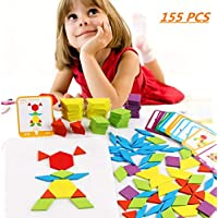 FISHSHOP Pattern Blocks Wooden Geometry Games Jigsaw Classic Educational Toys for Kids with 155 Geometric Shape Pieces and 24 Designs