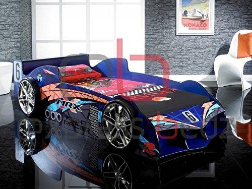 Gepolstert Queen-bett (Buckingham Betten Raging Racer blau Racing Auto nur (ideal für Kinder, Kinder Jungen oder Mädchen) Schumacker, Lewis Hamilton)
