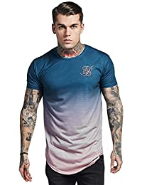 Sik Silk Hombres Ropa Superior/Camiseta Curved Hem Faded