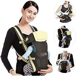 GBlife Porte Bébé Ergonomique 4 Positions Multifonctionnel pour Bébé Nouveau-né Petits Enfants Avec Poche Pratique Confortable Ajustable 0-24 Mois 16kg (Kaki)