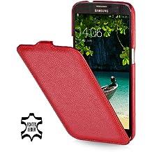 StilGut UltraSlim Case, Funda de piel para Samsung Galaxy Mega 6.3 i9200 Mega LTE i9205 i9208, Rojo