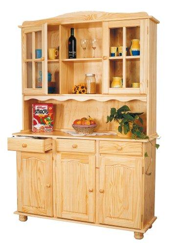 Inter Link Alpine Living Buffet Vitrinenschrank Küchenschrank Geschirrschrank Esszimmerschrank Kiefer Massivholz Natur lackiert BxHxT: 130 x 198 x 32-43 cm