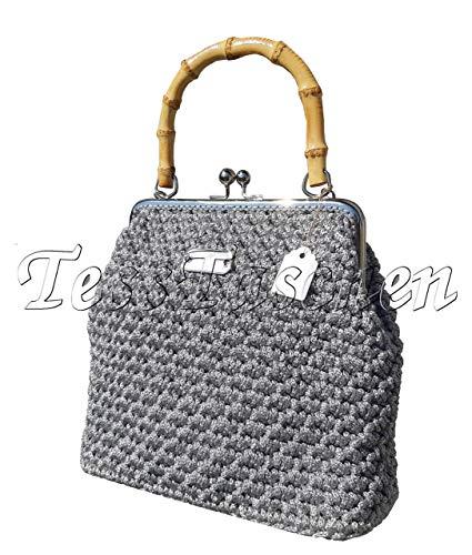 Vintage Damen Handtasche Nostalgie Silberne Umhängetasche mit Bambus Griff und Kette Gestrickte graue Canvastaschen mit Rahmen Kisslock Verschluss -