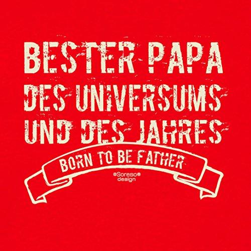 Herren Sprüche-T-Shirt :-: Bester Papa des Universums :-: als Geburtstagsgeschenk Vatertagsgeschenk Weihnachtsgeschenk :-: auch in Übergrößen :-: mit Geburtstags Urkunde :-: Farbe: rot Rot