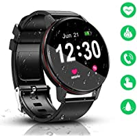 Smart Watch, IP68 Waterproof with 1.3 Inch Full Touch Screen Bluetooth Smartwatch, Fitness &Activity Tracker, Heart Rate Monitor, Sleep Monitor, Pedometer Call Notification for Android & iOS (Black)