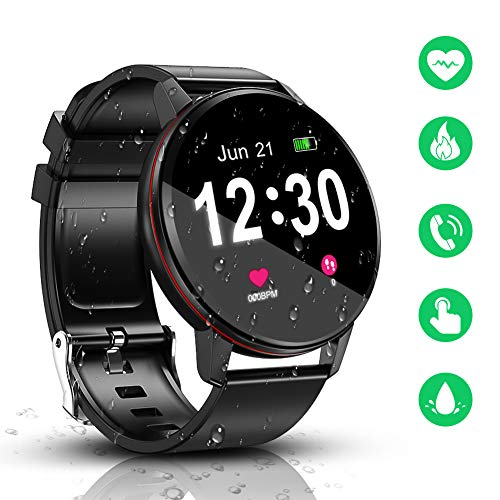 Smart Watch, IP68 impermeabile con schermo Full Touch Bluetooth smartwatch, tracker di fitness e...