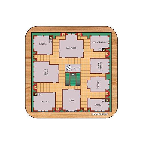 """""""Cluedo Game Board"""" Hot Getränke Untersetzer–9cm x 9cm–aus Hartfaserplatte Glanz Finish–klassischen Brettspiel Motivdesign"""