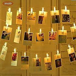Xcellent Global Pinzas para Fotos con Luces LED Cadena con 20 Clips Batería Blanco Brillante Cálido Decoración Pared Luces para Colgar Fotos de Pintura Fotos de Tarjetas y Recordatorios, 8,2 Ft 3 modos LD147