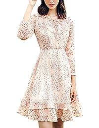 Vestito Donna Autunno Manica Lunga Tempo Libero Stampa Fiore Vestiti in Chiffon  Rotondo Collo Vintage Anni 20 Vestito… 285aa2d1b18