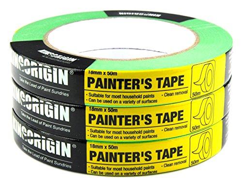 3 Rollen 18mmx50mm Profi-Qualität universell Malerkrepp Kreppband Feinkreppband - Paint Roller Kit