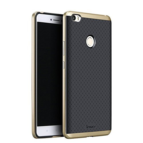 Original iPaky Brand Luxury High Quality Ultra-Thin Silicon inner Black Back + PC Golden Frame Bumper Back Case Cover For Xiaomi Mi Max 6.44-Inch