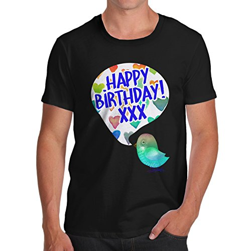 Herren Happy Birdy Birthday T-Shirt Schwarz