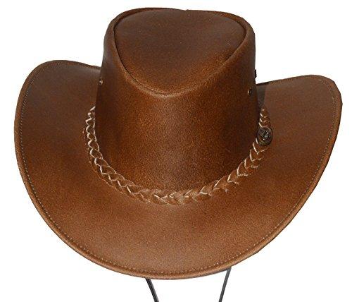 Black Jungle Cowboyhut für Kinder, Hut aus Rindsleder mit Kinnriemen Kinderhut