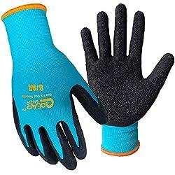 Lot de 3 paires de gants de travail de jardin, paume en latex texturé pour une meilleure adhérence, résistance aux épines et à la saleté de l'eau, S, turquoise, 6000