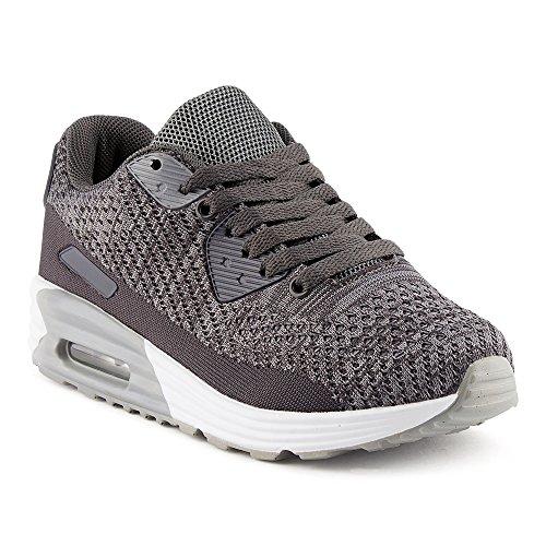 FiveSix Herren Damen Sneaker Sportschuhe Laufschuhe Freizeitschuhe Dämpfung Strick Schnürschuhe Low-Top Unisex Schuhe Dunkelgrau/Grau-W EU 36