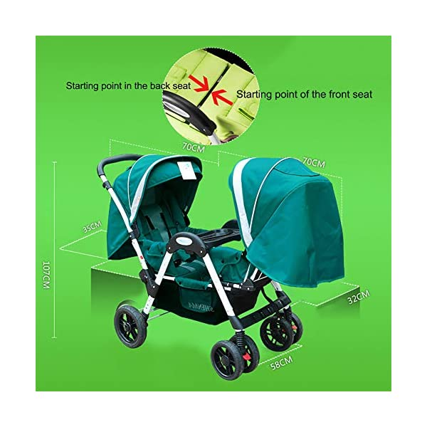 ZJGOODS Twin Baby Strollers for Boys And Girls with Adjustable Backrest Double Face to Face with Shock Absorber Comfortable Folding Trolley,B ZJGOODS TWIN STROLLER: Getting everywhere with two little ones has never been easier, thanks to the Double Strollers; you can glide around town even when you only have one hand free to steer; you can even roll through a standard size doorway. ADJUSTABLE BACKREST & CONNECTABLE SEATS :The backrest can adjust to fit baby's sleep posture to keep comfortable sleeping. Two seats can be connected to lengthen the seat. SAFETY WHEELS & 5-POINT SAFETY BELTS:The springs in front wheels absorb shocks for easy to control direction and safety. The 5-point safety belt is equipped with each seat to ensure security while keeping your baby fit to the safety belt to feel comfortable. 7