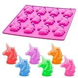ECENCE Einhorn Eiswürfel-form Eiswürfelschale-n aus Silikon für 12 Eiswürfel Eiswürfel-bereiter Eiswürfel-behälter Eisform Silikonform Pink 24010301