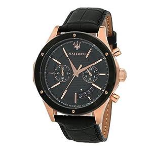 Reloj para Hombre, Colección Circuito, en Acero, PVD Oro Rosa, Cuero –