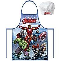 Marvel Avengers - Casco, Catp.America, Thor, Iron Man (102050) Niños Conjunto de cocinero Delantal de cocina y Sombrero de cocinero, 2 piezas