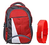 #7: BLUTECH Canvas Red Waterproof School Bag & College LAPTOPfor Boys+ Free RED LED Unisex