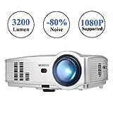 Videoproiettore,WiMiUS T4 3200 Lumen LED Videoproiettore Full HD LCD Supporto 1080P Home Cinema Multimedia Proiettore per iPhone Smartphone Tablet PC Computer con TV/AV/VGA/USB/HDMI (Argento)