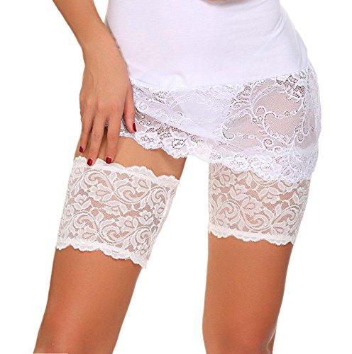 ADOME Elastische Strumpfbänder Spitze Oberschenkel bänder Socken Anti-Chafing Anti Scheuern Weiß EU M