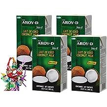 [ 4x 1000ml ] AROY-D Kokosmilch Kokosnussmilch Cocosmilch Coconut Milk + ein kleines Glückspüppchen - Holzpüppchen