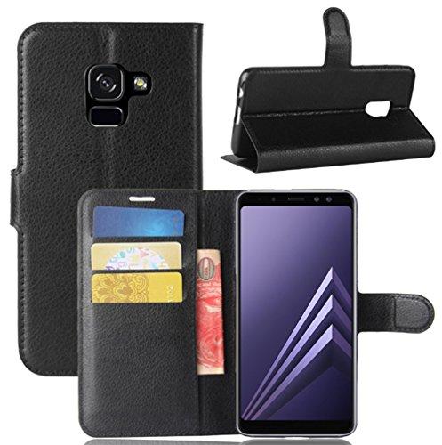 Samsung Galaxy A8 2018 Duos Hülle, Vicstar Samsung Galaxy A8 2018 Tasche Premium PU Leder Flip Case Ledertasche Dünn Schutzhülle mit Kartensteck Plätzen und Faltbare Ständer Handyhülle für Samsung Galaxy A8 2018