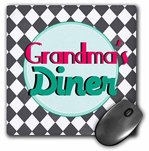 3drose 20,3x 20,3x 0,6cm Maus Pad, Omas Diner Sign auf Schwarz und Weiß Diamanten Retro Hot Pink/Aqua/Teal (MP _ 151652_ 1) (Diner 50er Tisch)
