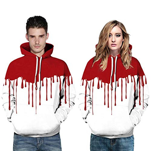 Amcool 2019 Halloween Frauen 3D Männer Paare Blutdruck Langarm Hoodie Sweatshirt Pullover Herbst Winter Hemd Langarm Top Jumper Shirt (Sm 2019 Halloween-party)