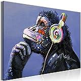 decomonkey Akustikbild AFFE Banksy 120x80 cm 1 Teilig Leinwand Wandbilder XXL Schallschlucker Schallschutz Akustikdämmung Wand Bild leise Street Art Musik