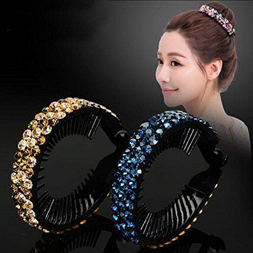DUlijun plat boulette tête cheveux tête de bourgeon coréenne grosse tête de cercle clip épingle de cheveux de bijoux en diamant queue de cheval torsion boucle pink flowers penang