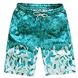 QinMM Herren Shorts Badehose Quick Dry Strand Surfen Laufen Schwimmen Wasserhosen Sommer Shorts Hosen Täglich Casual Wadenlangen Hosen M-4XL (M, Hellblau)