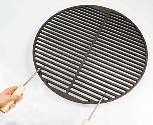 Gusseisen runde + eckige Grillroste viele Größen + Griffe Grillclub® Grill für Weber Gasgrill Holzkohle (Ø 34,5 cm + 2 Griffe passend für 37er Kugelgrills)